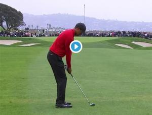WATCH: Tiger Woods robbed of an eagle two as ball bounces in and out of cup at Farmers Insurance Open